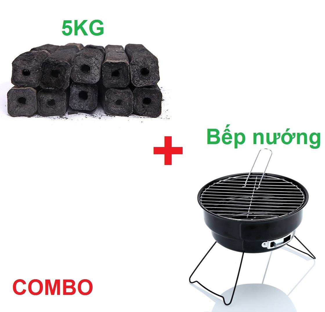 COMBO 5KG Than Nướng Sạch Không Khói và Bếp Nướng Than Sạch Không Khói