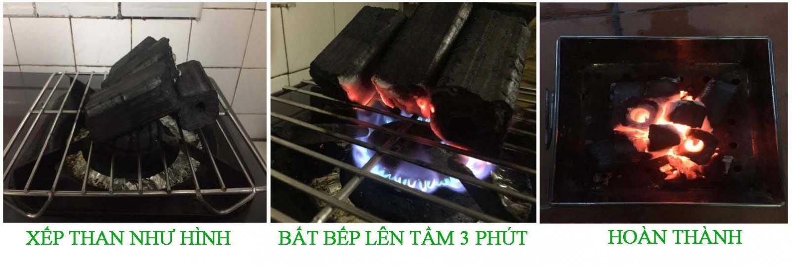 hướng dẫn cách nhóm than sạch không khói bằng bếp gas